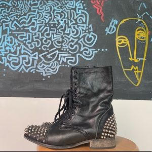 Black Distressed Leather Metal Spiked Combats